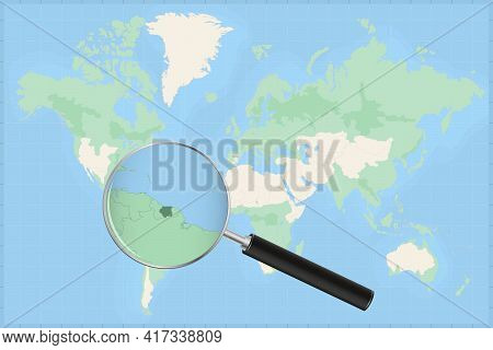 Map Of The World With A Magnifying Glass On A Map Of Suriname Detailed Map Of Suriname And Neighbori
