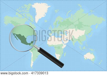 Map Of The World With A Magnifying Glass On A Map Of Mexico Detailed Map Of Mexico And Neighboring C