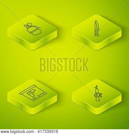 Set Isometric Line Military Knife, Ammunition Box, M16a1 Rifle And Hand Grenade Icon. Vector