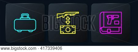 Set Line Weapon Case, Book With Pistol Or Gun And Buying Assault Rifle. Black Square Button. Vector