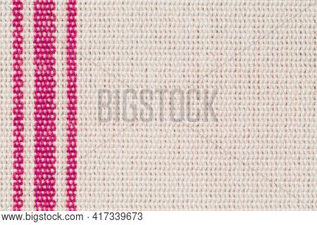 Fabric Texture With Red Stripes Margin, Ideal For A Template Or Background