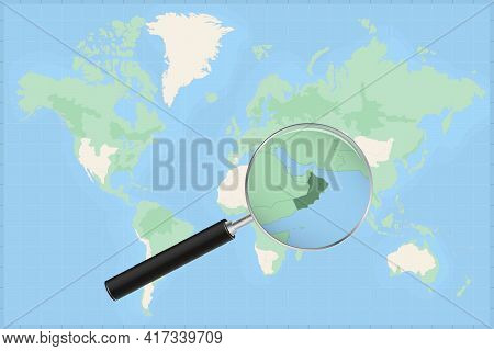 Map Of The World With A Magnifying Glass On A Map Of Oman Detailed Map Of Oman And Neighboring Count