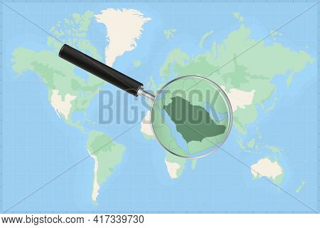 Map Of The World With A Magnifying Glass On A Map Of Saudi Arabia Detailed Map Of Saudi Arabia And N