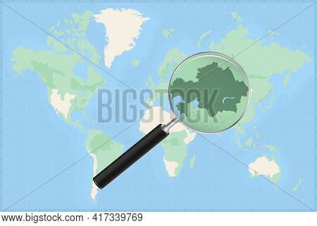 Map Of The World With A Magnifying Glass On A Map Of Kazakhstan Detailed Map Of Kazakhstan And Neigh