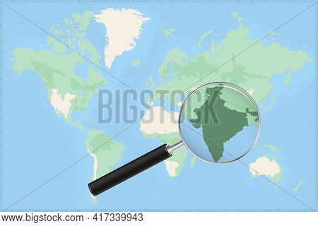 Map Of The World With A Magnifying Glass On A Map Of India Detailed Map Of India And Neighboring Cou