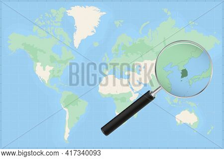 Map Of The World With A Magnifying Glass On A Map Of South Korea Detailed Map Of South Korea And Nei