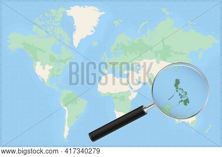 Map Of The World With A Magnifying Glass On A Map Of Philippines Detailed Map Of Philippines And Nei