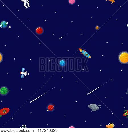 Space Pattern With Planets And Stars. Astronaut