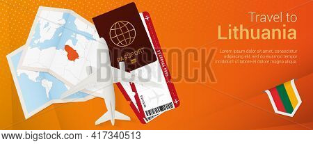 Travel To Lithuania Pop-under Banner. Trip Banner With Passport, Tickets, Airplane, Boarding Pass, M