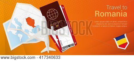 Travel To Romania Pop-under Banner. Trip Banner With Passport, Tickets, Airplane, Boarding Pass, Map