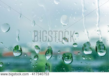 Rain Drops On Window Glasses In Rainy Day With Selective Focusing, Rainy Season Weather