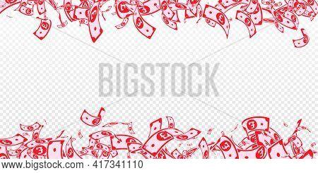 British Pound Notes Falling. Messy Gbp Bills On Tr