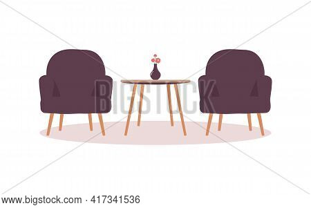 Two Wooden-legged Burgundy Armchairs And A Coffee Table With A Vase Of Flowers. Furniture For A Cozy