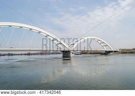 Novi Sad, Serbia - March 08. 2021: Zezelj Bridge On River Danube In Novi Sad Serbia. The Prospect Of