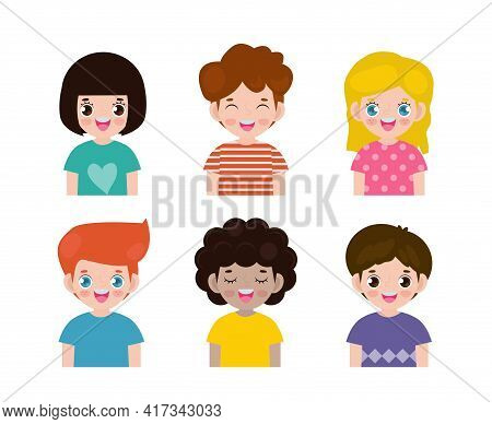 Set Of Diverse Kids Isolated On White Background, Different Nationalities And Dress Styles. European
