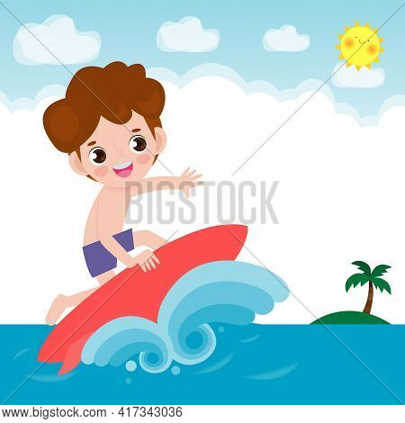Cute Surfer Boy Character With Surfboard And Riding On Ocean Wave. Happy Young Surfer Guy On The Cre