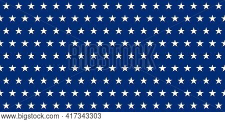 Blue Banner. Rows Of White Five-pointed Stars On A Blue Background. Seamless Texture. Geometric Patt