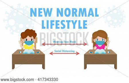 Back To School For New Normal Lifestyle Social Distancing In Class Room Concept, Prevention Tips Inf