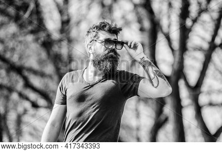 Man Bearded With Sunglasses Nature Background. Hipster Confident In Dark Sunglasses. Uv Filter. Bear