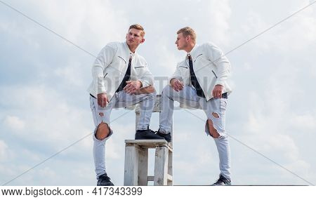 Young Twin Brothers With Similar Appearance, Twins