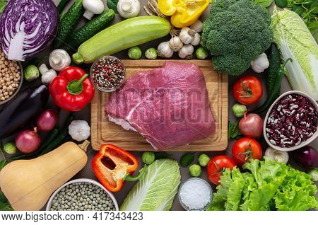 Fresh Farm Organic Vegetables, Healthy Food Concept, Vegetables And Mushrooms, Superfoods And Beans
