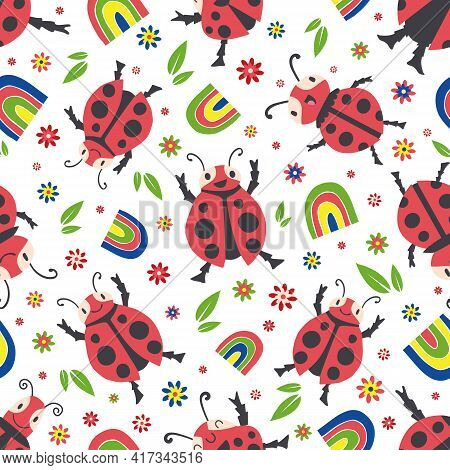 Cute Ladybirds And Rainbows Seamless Vector Pattern Background. Happy Dancing Ladybugs In Childlike