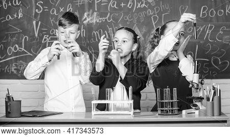 Study Of Liquid States. Group School Pupils Study Chemical Liquids. Girls And Boy Student Conduct Ex