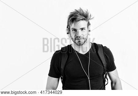 I Am Online. New Technology In Modern Life. Sexy Muscular Man Listen Music. Man Listen New Song Isol