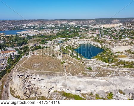 Top View Of The Blue Lake In The Stone Quarry, Blue Lake, Flooded Stone Quarry