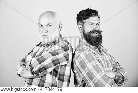 Brutal Guys With Long Beard. Father And Son. Hairdresser Salon. Barbershop Concept. Men Bearded Hips