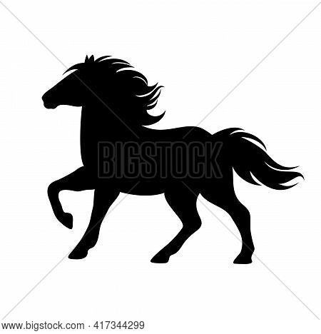 Beautiful Pony With Flying Mane And Tail - Cute Little Horse Running Forward Black And White Vector