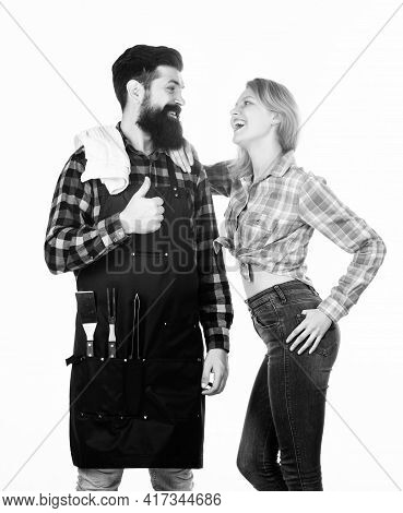 Backyard Barbecue Party. Couple In Love Getting Ready For Barbecue. Picnic And Barbecue. Man Bearded