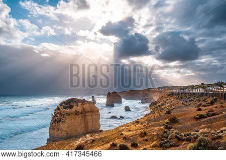 Twelve Apostles Amazing Landscape - Sunshine After Storm In Victoria, Australia