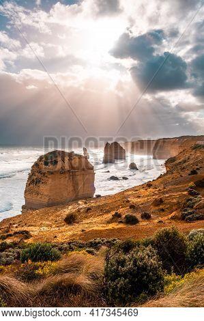 Beautiful Sunlight Over The Famous 12 Apostles Rocks In Victoria, Australia