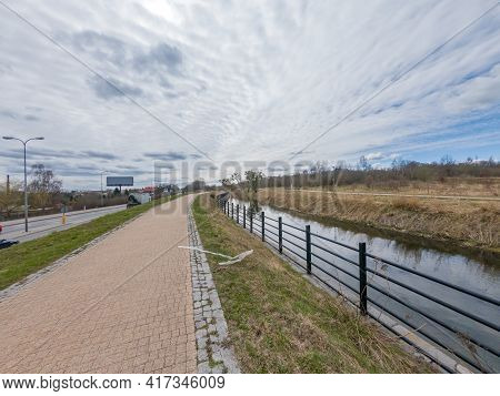 Pruszcz Gdanski, Poland - April 4, 2021: View Of Radunia Canal And Walking And Cycling Path.