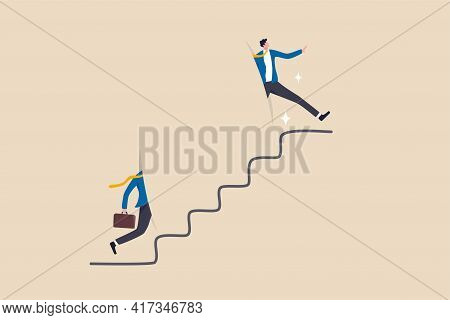 Shortcut For Business Success, Stairway Or Step To Career Growth, Get Rich Fast Or Strategy To Achie