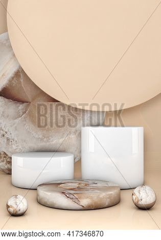 Minimal 3d Scene With Geometric Forms. Marble Podium On Beige Pastel Background. Scene To Show Cosme