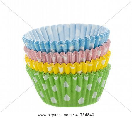 Coloured Cupcake Baking Cups On White Background