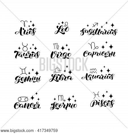Collection Of Zodiac Brush Lettering. Zodiac Symbols. Vector Stock Illustration For Banner Or Clothe