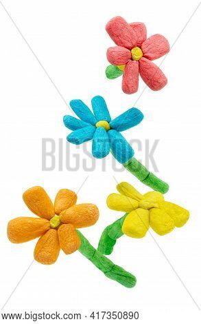 Isolated Artificial Flowers Set That Made From Corn Starch. Bright Colors Artificial Flowers In Chil