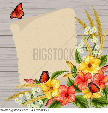 Illustration With A Bouquet Of Flowers And Ears.ears, Butterflies And A Bouquet Of Flowers On A Wood