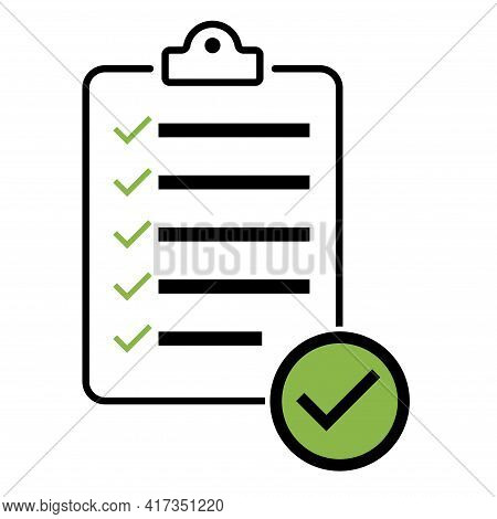 Check List , Checklist Flat Web Icon Isolated On White Background. Mark Symbol, Document Report Test