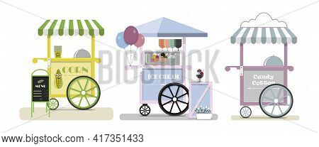 Set Of Vector Food Trucks With Pizza, Donuts And Ice Cream. Vector Flat Illustration Of A Fast Food