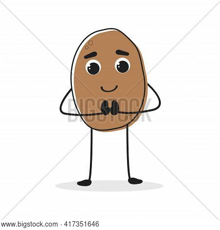 Potato. Cartoon Drawing Style. Cute Funny Vegetable. Vector Illustration For Menu, Packaging, Logos,