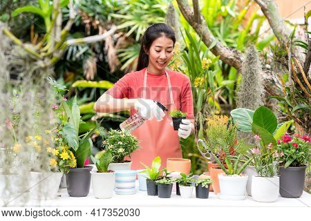 Young Asian Gardener Woman Care Plant Flower In Garden. Asia People Hobby And Freelance Gardening In