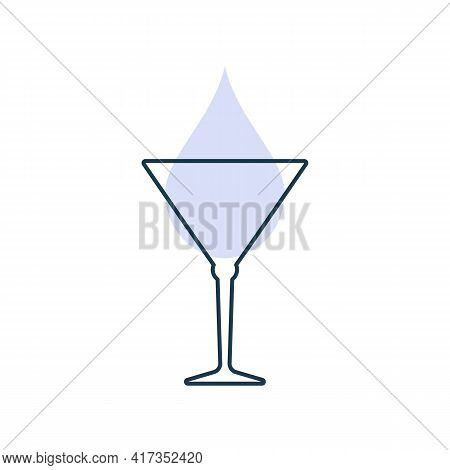 Modern Abstract Illustration With Glass Martini With Color Blob. Linear Outline Sign. Logo Illustrat