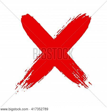 Dirty Grunge Hand Drawn Cross X With Brush Strokes Vector Illustration Isolated On White Background.