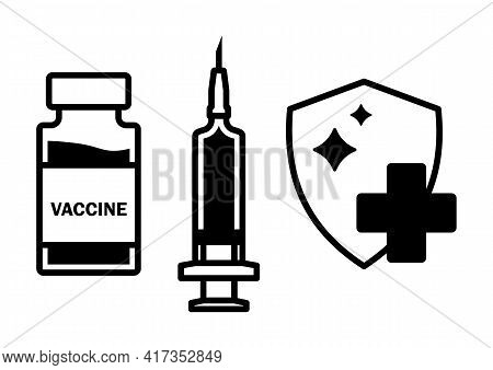 Syringe, Vial And Shield Icon. Vaccination And Protection Concept Of Different Infection. Immunizati