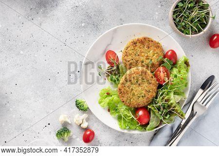 Vegan Lunch Plate. Broccoli And Quinoa Burgers