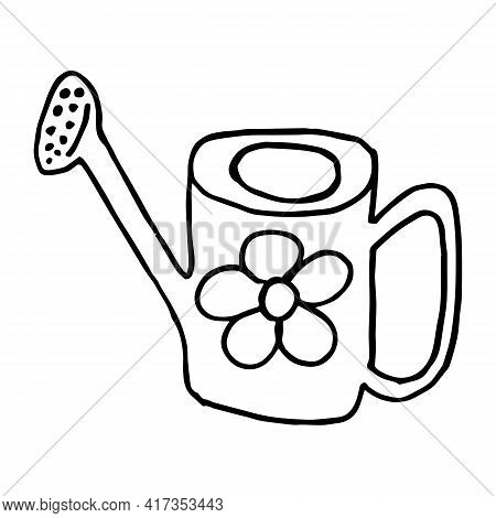 Watering Can Cartoon Icon. Sketch Fast Pencil Hand Drawing Illustration In Funny Doodle Style. Drawi